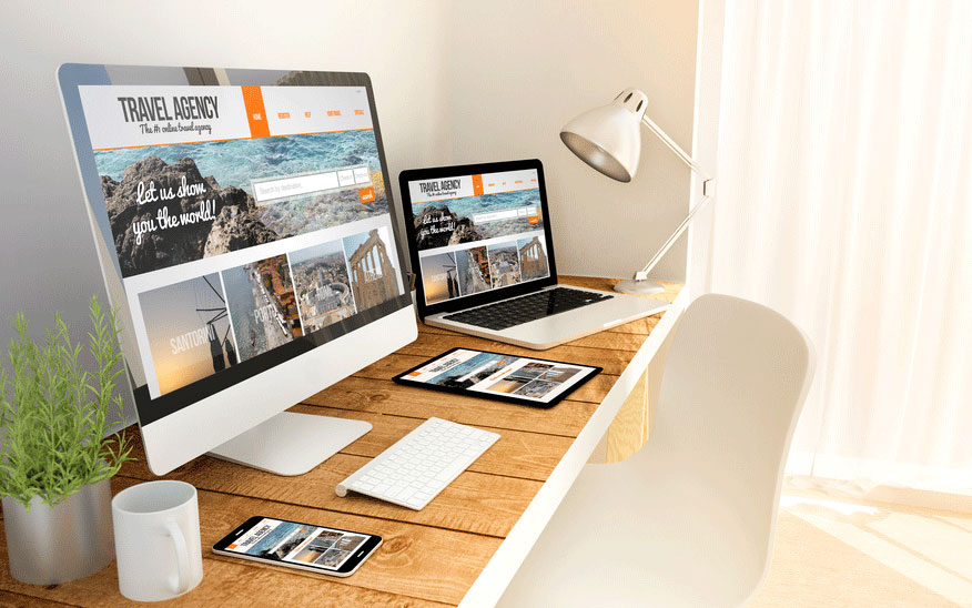 responsive design image with pc, laptop, tablet and phone